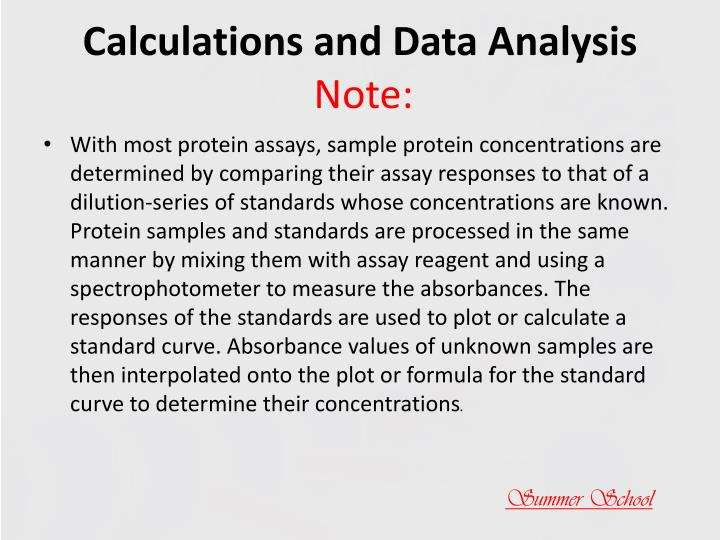 Calculations and Data Analysis