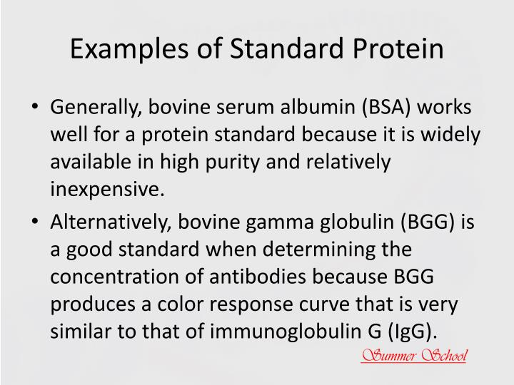 Examples of Standard Protein