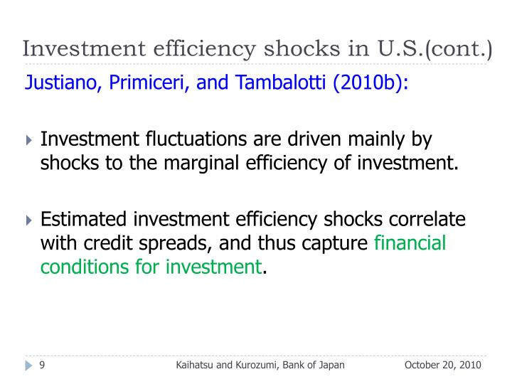 Investment efficiency shocks in U.S.(cont.)