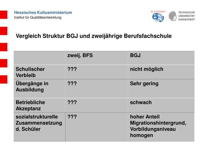 Vergleich Struktur BGJ und zweijährige Berufsfachschule