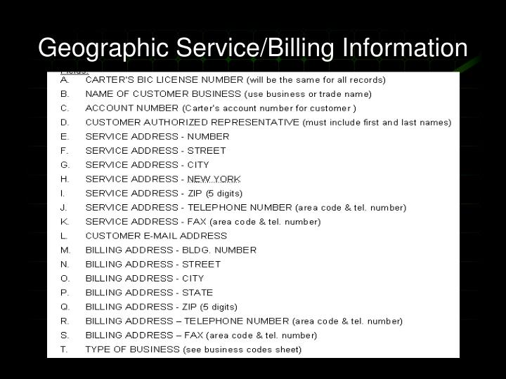 Geographic Service/Billing Information