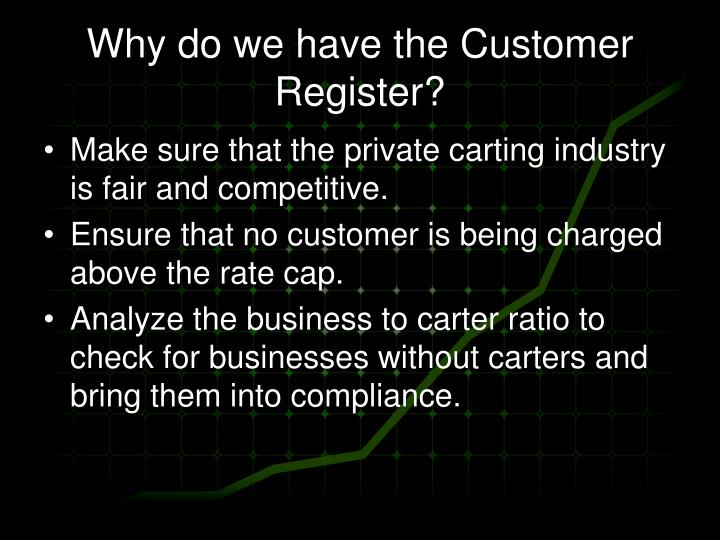 Why do we have the Customer Register?