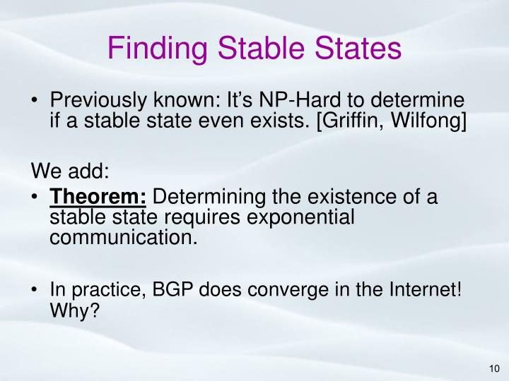 Finding Stable States