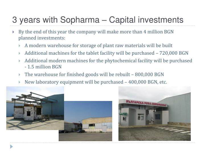 3 years with Sopharma – Capital investments