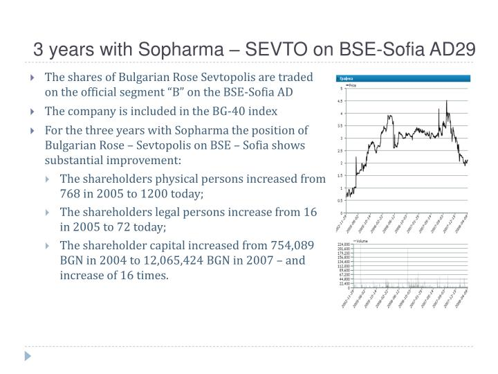 3 years with Sopharma – SEVTO on BSE-Sofia AD29