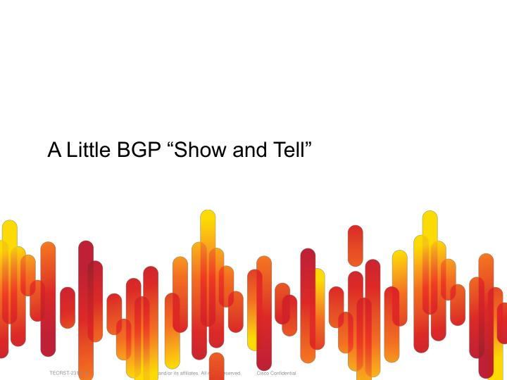 "A Little BGP ""Show and Tell"""