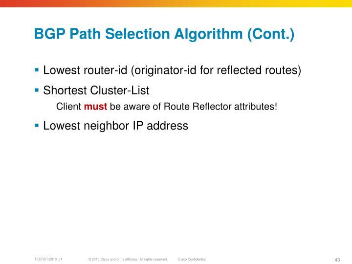 BGP Path Selection Algorithm