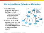 hierarchical route reflectors motivation