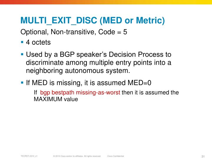 MULTI_EXIT_DISC (MED or Metric)