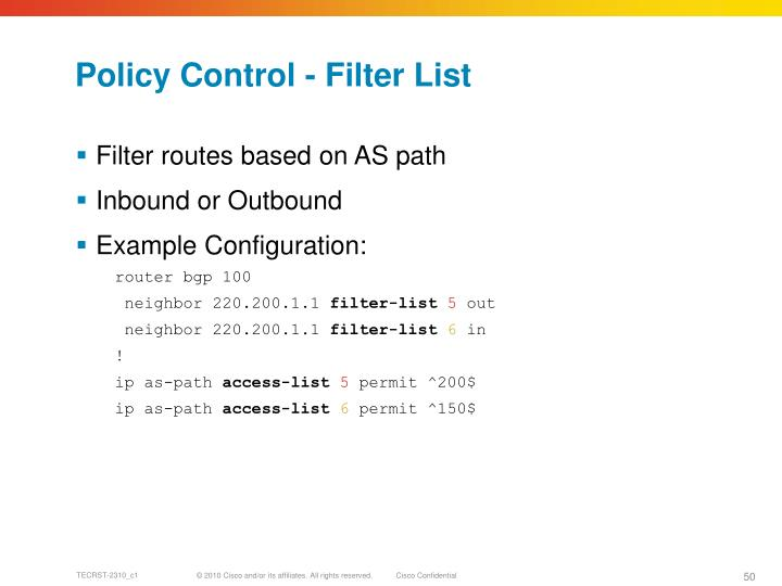 Policy Control - Filter List