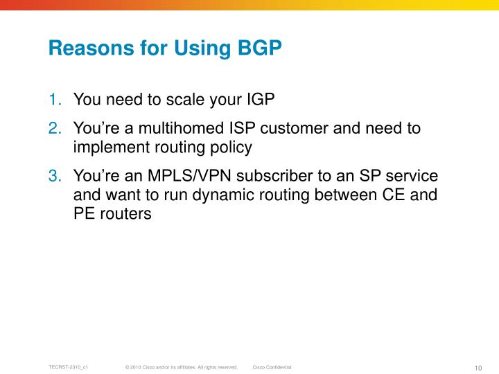 Reasons for Using BGP
