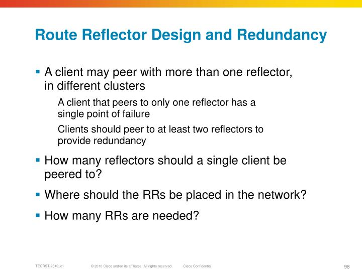 Route Reflector Design and Redundancy