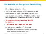route reflector design and redundancy1