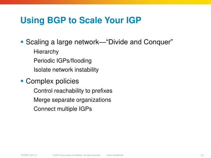 Using BGP to Scale Your IGP