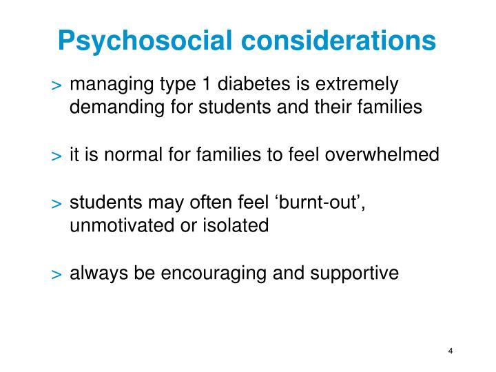 Psychosocial considerations