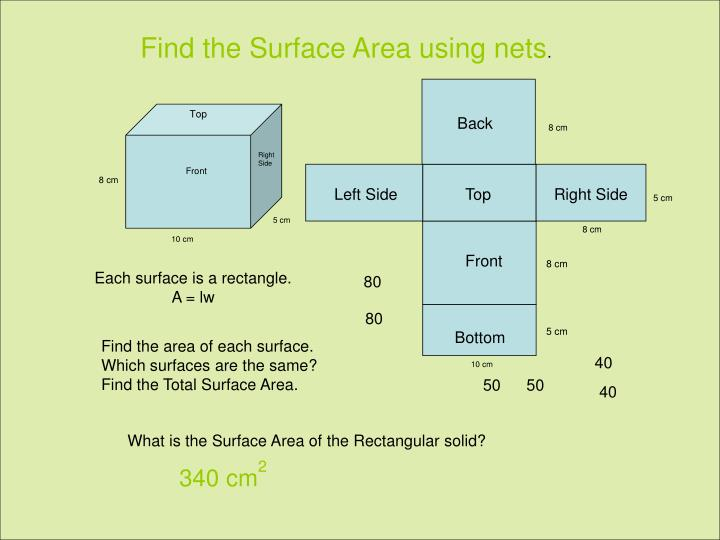 how to find total surface area using volume