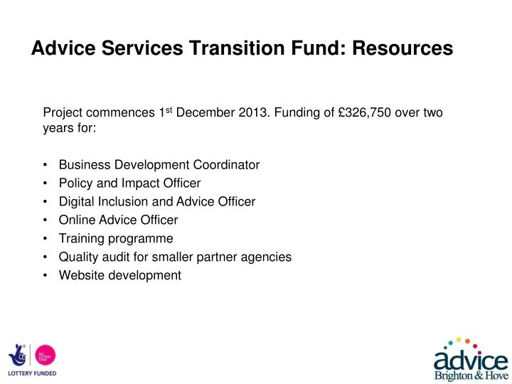 Advice Services Transition Fund: Resources