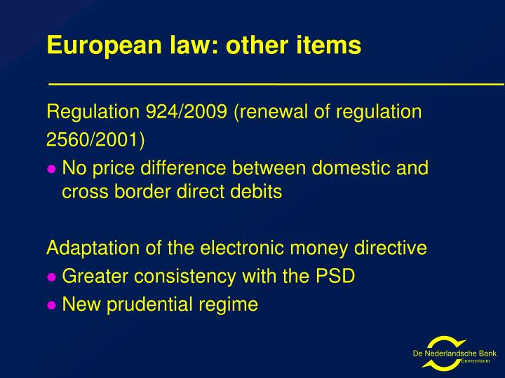 European law: other items