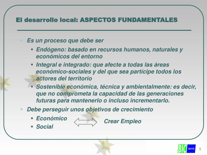 El desarrollo local: ASPECTOS FUNDAMENTALES