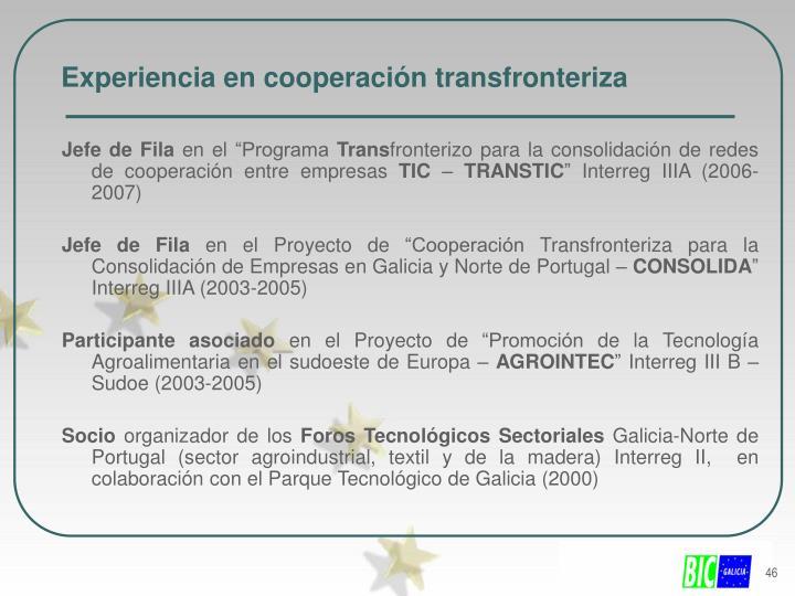 Experiencia en cooperación transfronteriza