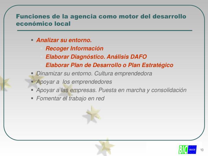 Funciones de la agencia como motor del desarrollo  económico local