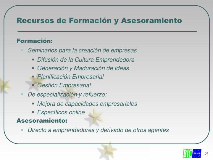 Recursos de Formación y Asesoramiento