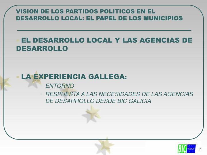 VISION DE LOS PARTIDOS POLITICOS EN EL DESARROLLO LOCAL: