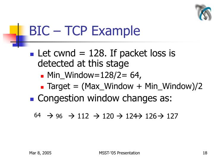 BIC – TCP Example