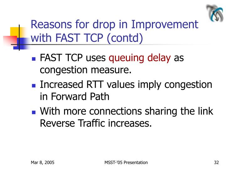 Reasons for drop in Improvement with FAST TCP (contd)