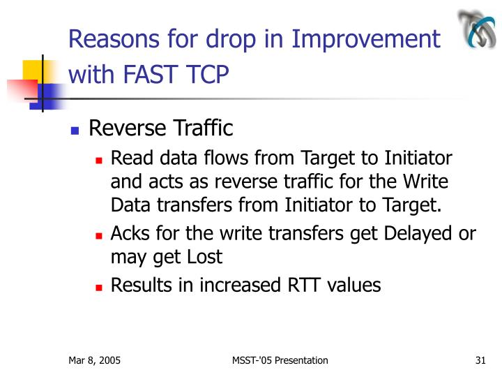 Reasons for drop in Improvement with FAST TCP