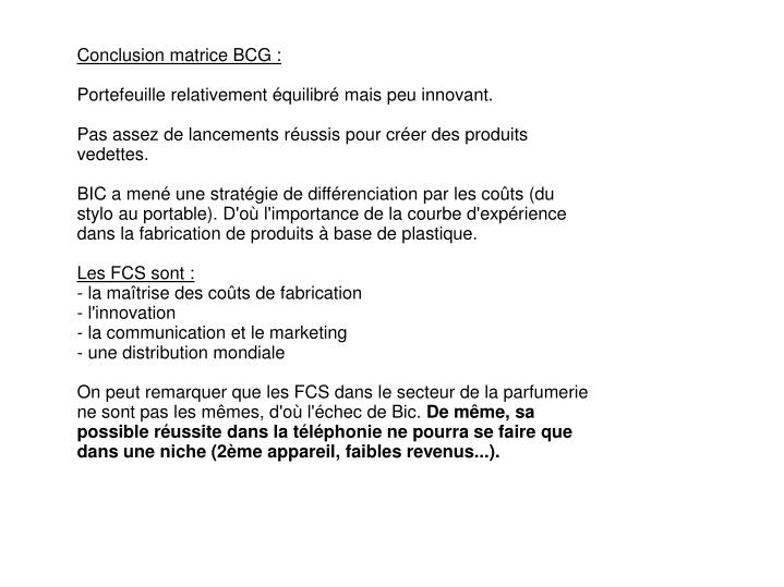 Conclusion matrice BCG :