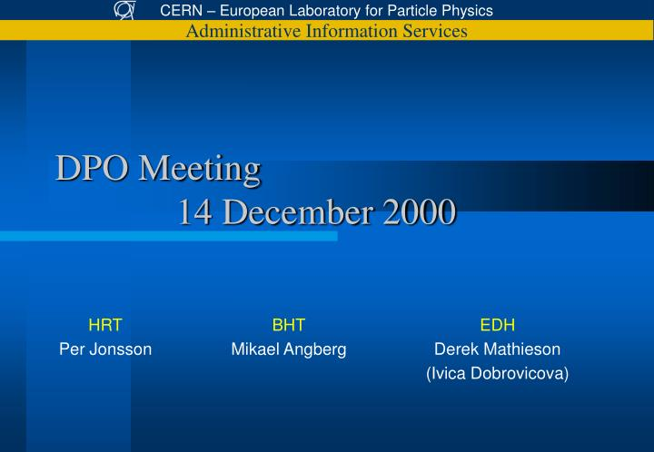 Dpo meeting 14 december 2000
