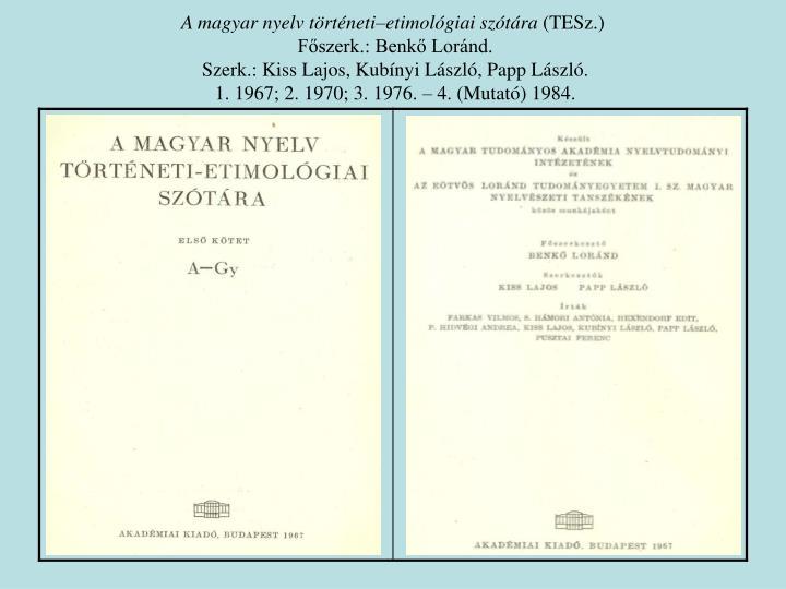 A magyar nyelv történeti–etimológiai szótára