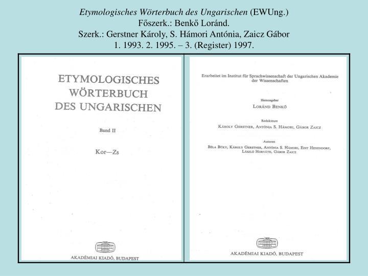Etymologisches Wörterbuch des Ungarischen
