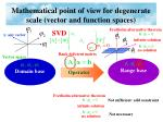 mathematical point of view for degenerate scale vector and function spaces