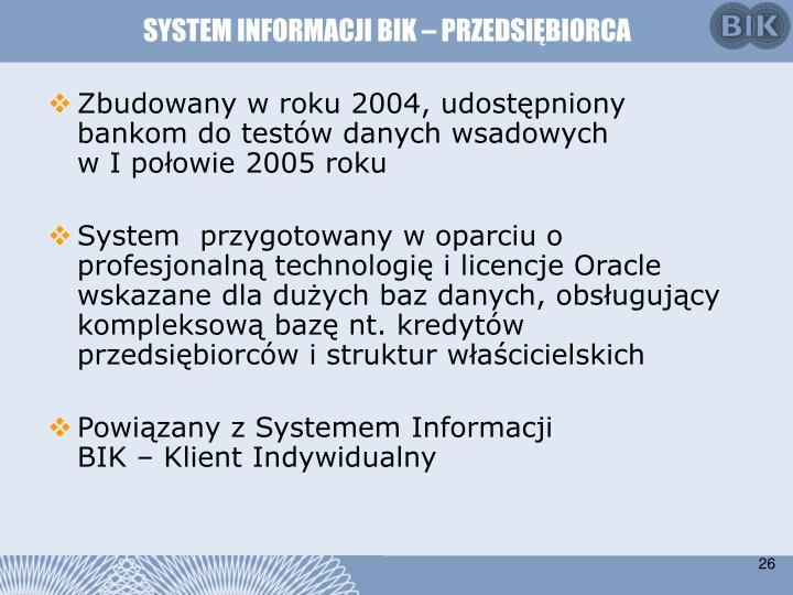 SYSTEM INFORMACJI BIK – PRZEDSIĘBIORCA