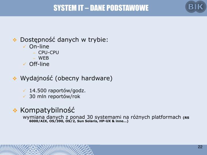 SYSTEM IT – DANE PODSTAWOWE