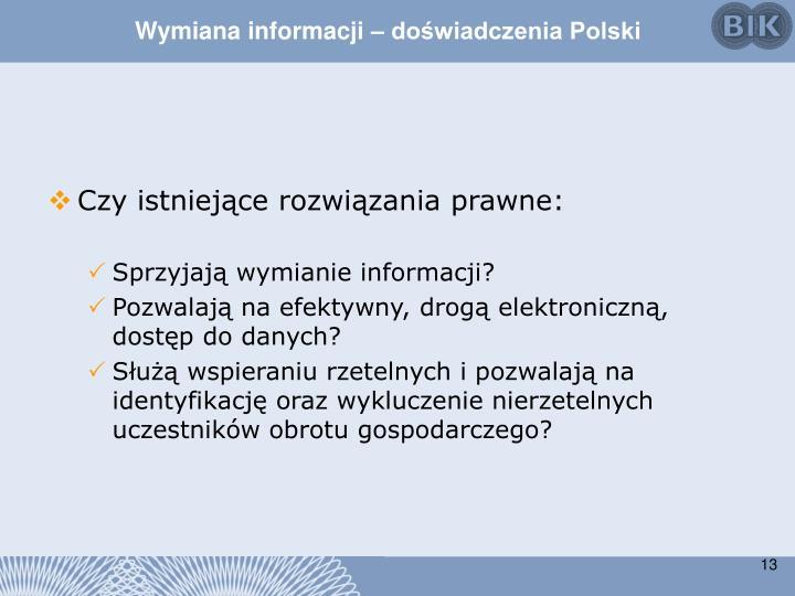 Wymiana informacji – doświadczenia Polski