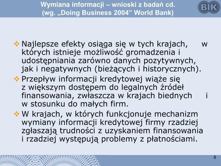 Wymiana informacji – wnioski z badań cd.