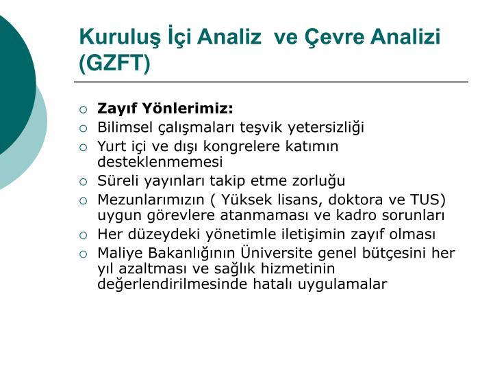 Kuruluş İçi Analiz  ve Çevre Analizi  (GZFT)