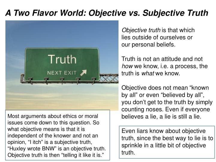 A Two Flavor World: Objective vs. Subjective Truth