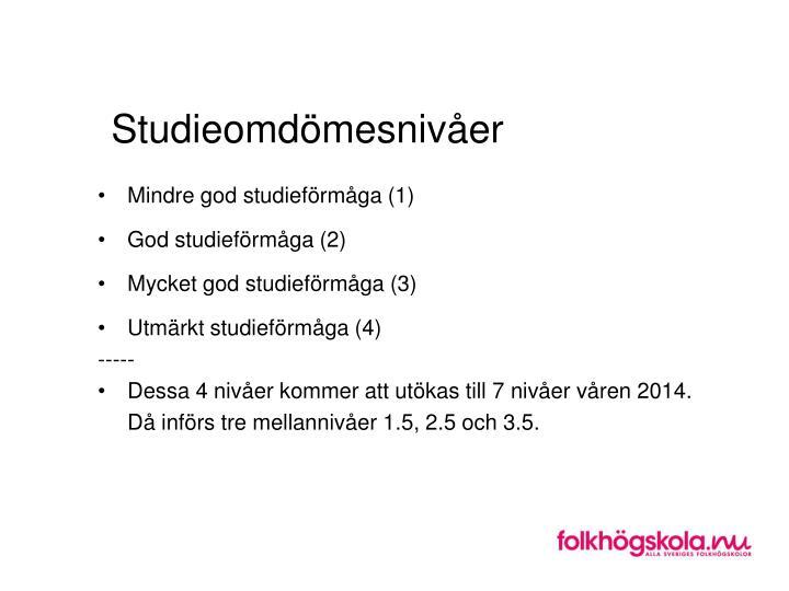 Studieomdömesnivåer