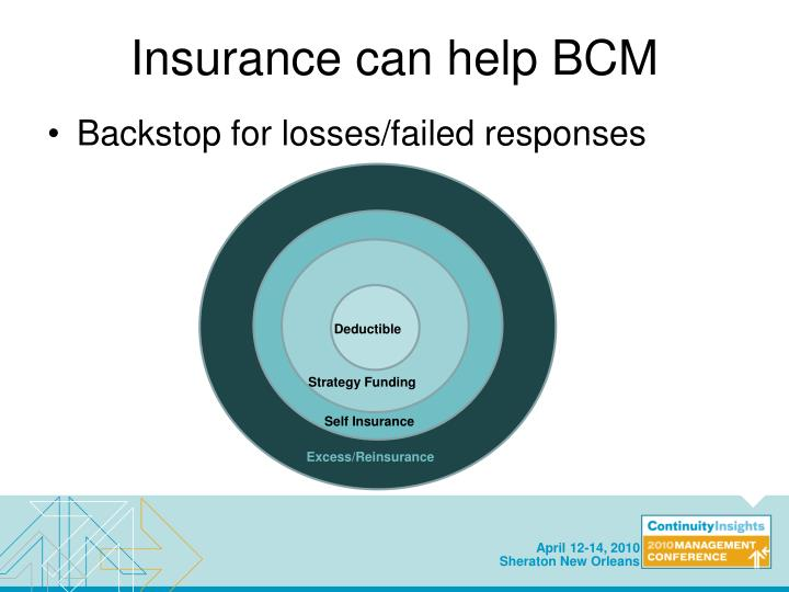Insurance can help BCM