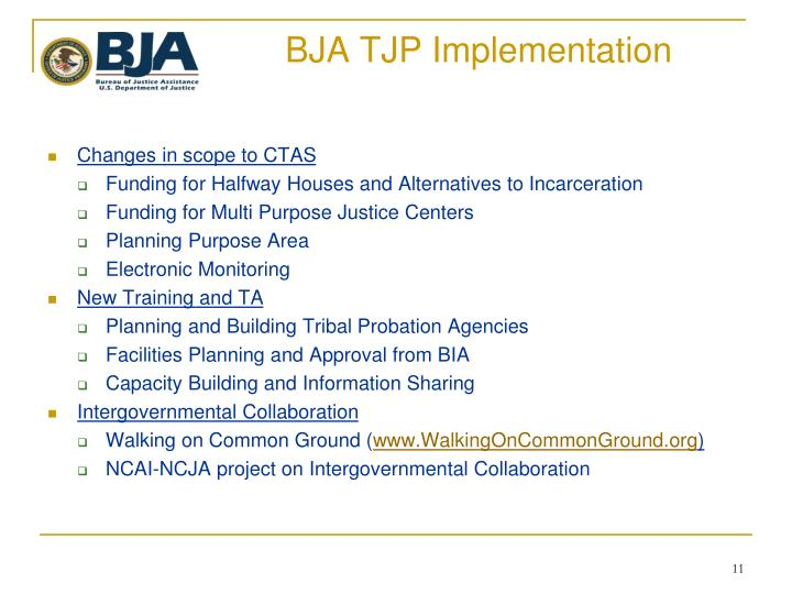 BJA TJP Implementation