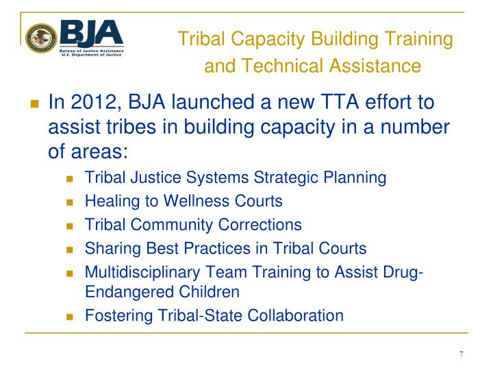 Tribal Capacity Building Training      and Technical Assistance