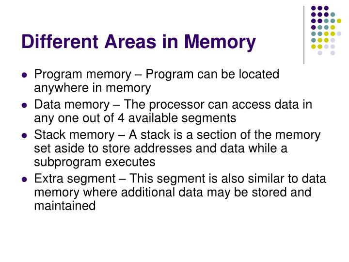 Different Areas in Memory