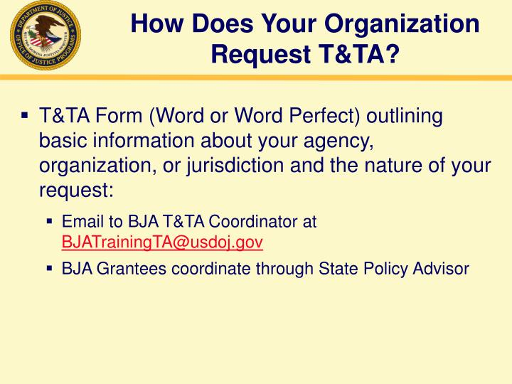 How Does Your Organization Request T&TA?