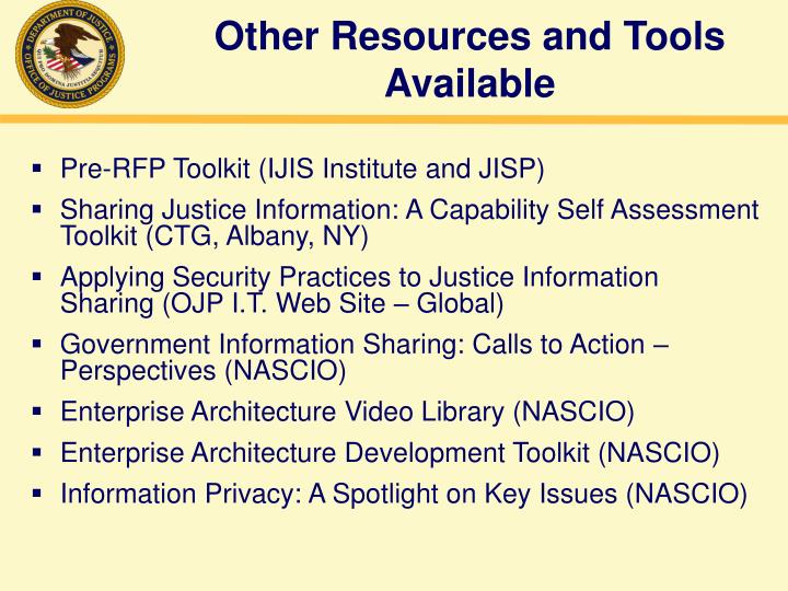 Other Resources and Tools Available
