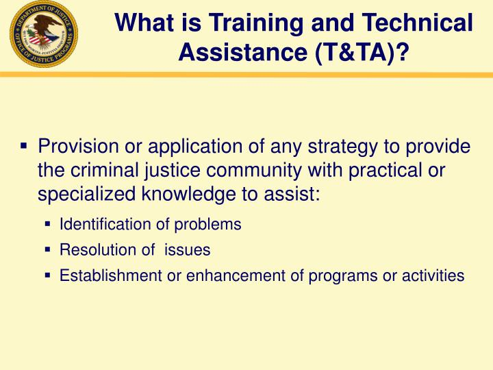 What is training and technical assistance t ta