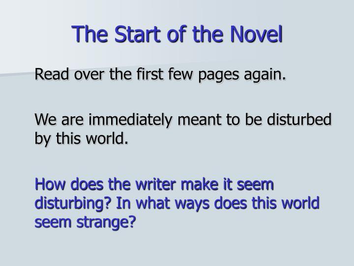 The Start of the Novel
